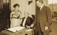 Abigail Scott Duniway with Governor Oswald West