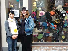 Tiniest store on Belmont: Flip Side's Sakuwa Hayashida and Stephanie Purtle