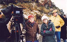 Aaron Katz, co-director Marthat Stephens, and actor Earl Lynn Nelson on location in Iceland