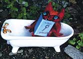 A red bat in a bathtub museum …within a hidden library