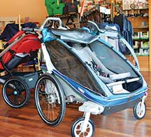 Thule earned a spot as a keystone product at Seahorses with their line of versatile, durable strollers that quickly transition to bike trailers; perfect for the Portland family.