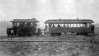 Steam dummy motor No. 4 with coach No. 11 at east end of Mount Tabor Motor Line near present-day SE 69th Ave. and Belmont St., about 1890