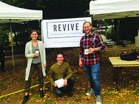 Lauren Moomaw, President of the Board for Revive Community Commons (left), Eli Eichenauer, Executive Director of Revive Community Commons (center), Josh Pinkston, Program Director of Revive Community Commons.