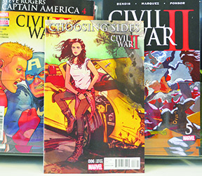 Local author Chelsea Cain pairs with UK artist Alison Sampson  on a story about private detective Jessica Jones  in this issue of Civil War II: Choosing Sides #6